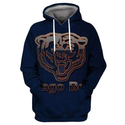 New Chicago Bear Printed Hooded Pocket Turtleneck Sweater - diNeiLa