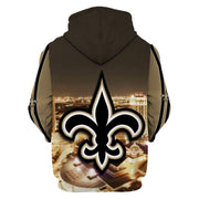 New Orleans Saints Printed Hooded Pocket Pullover Sweater01 - diNeiLa