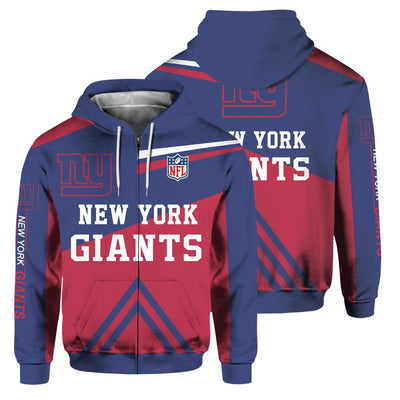 New York Giants 3D Printed Zipper Hoodie - diNeiLa