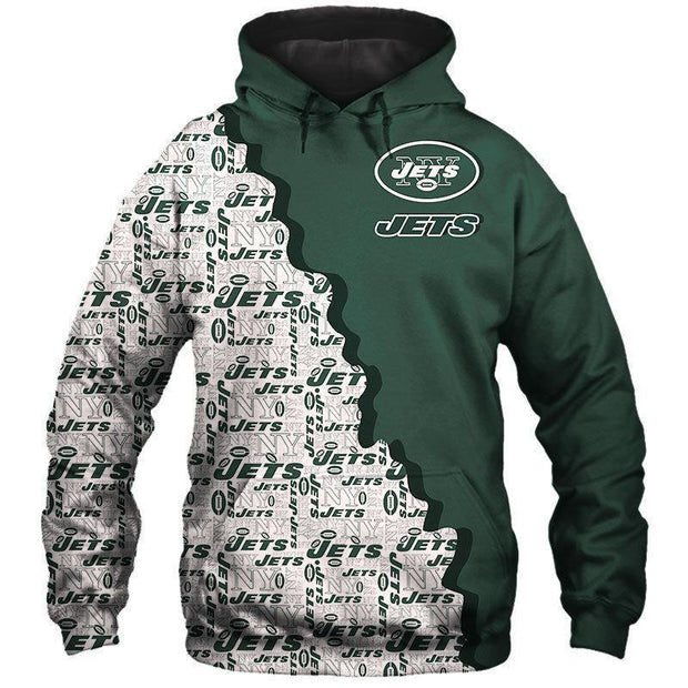 New York Jets Printed Hooded Pocket Pullover Sweater - diNeiLa