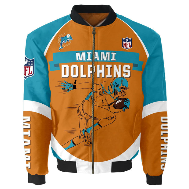 NFL Miami Dolphins 3D Printed Full-Zip Sport Jacket - diNeiLa