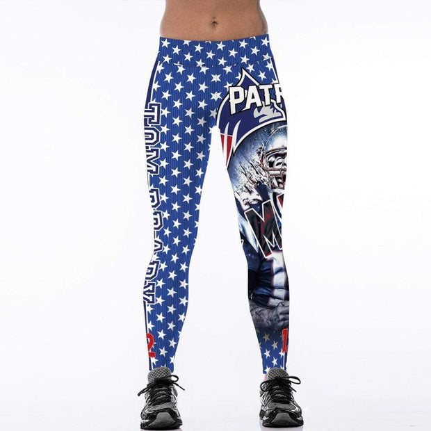 Patriots 3D Printed Personality High Waist Slim Leggings - diNeiLa
