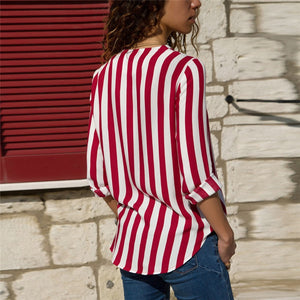 Striped Blouse Shirt Long Sleeve Blouse V-neck Shirts Casual Tops