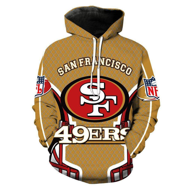 San Francisco 49ers Printed Hooded Pocket Pullover Sweater - diNeiLa