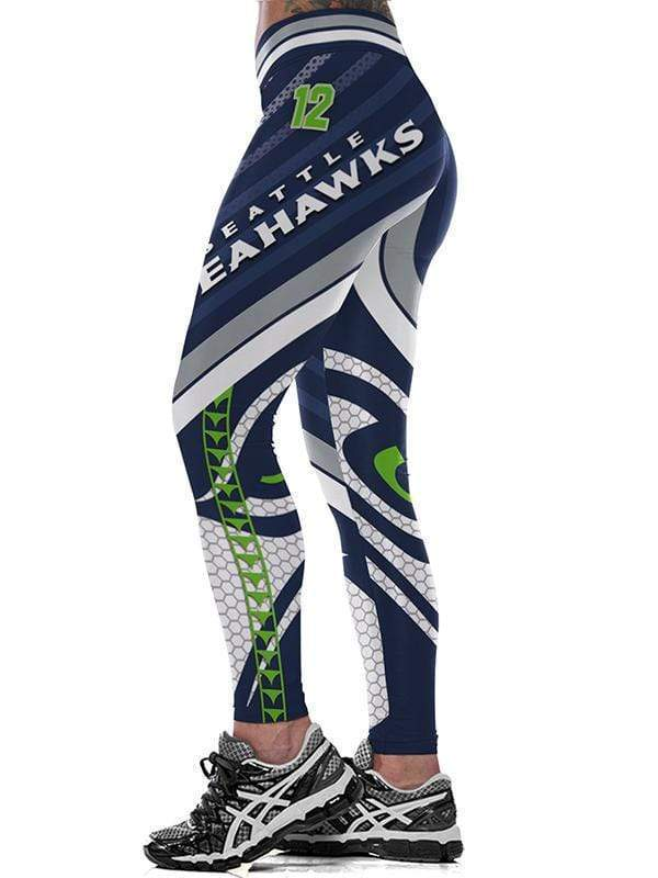 SEAHAWKS 3D digital printing sexy running fitness yoga pants - diNeiLa