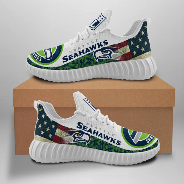 Seattle Seahawks Sneakers Big Logo Yeezy Shoes - diNeiLa