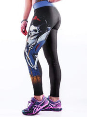 Skull Snow White 3D Printing High Waist Tight Stretch Yoga Pants - diNeiLa