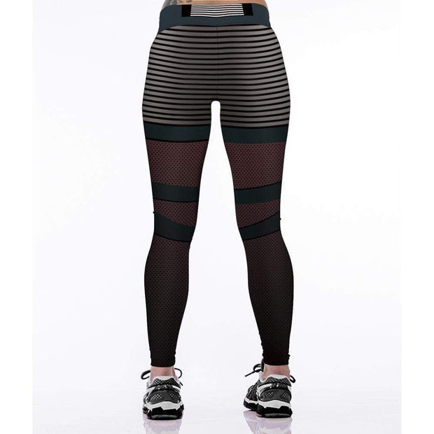 Stripe 3D Printed High Waist Fitness Yoga Leggings - diNeiLa