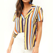 Summer Short Sleeve Chiffon Blouse Shirt Striped - diNeiLa