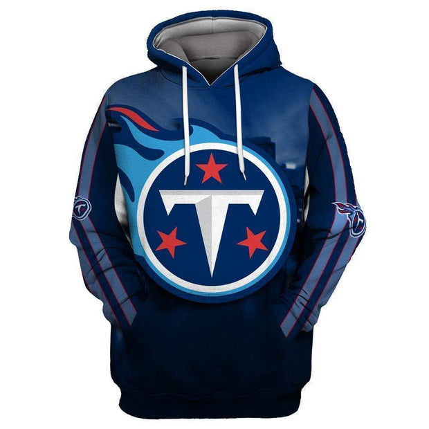 Tennessee Titans Printed Hooded Pocket Pullover Sweater - diNeiLa