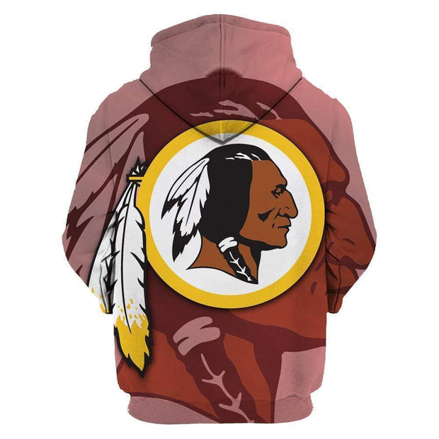 Washington Redskins Printed Hooded Pocket Pullover Sweater - diNeiLa