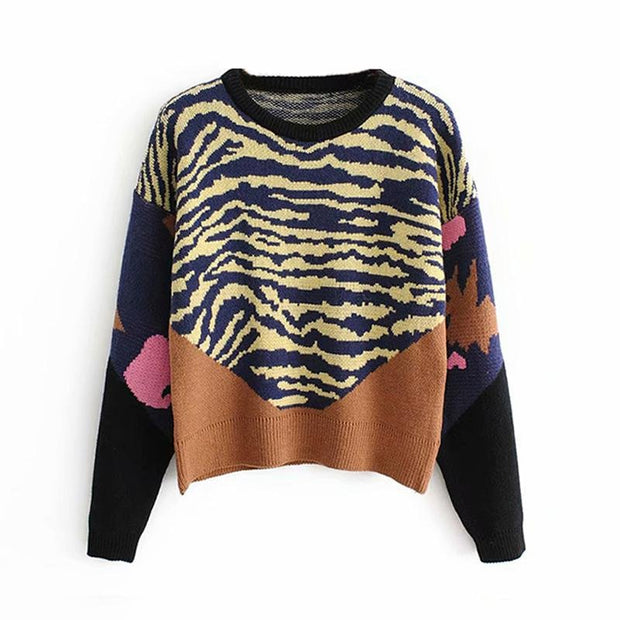 Women Knitted Pullover Casual Patchwork Sweater - diNeiLa