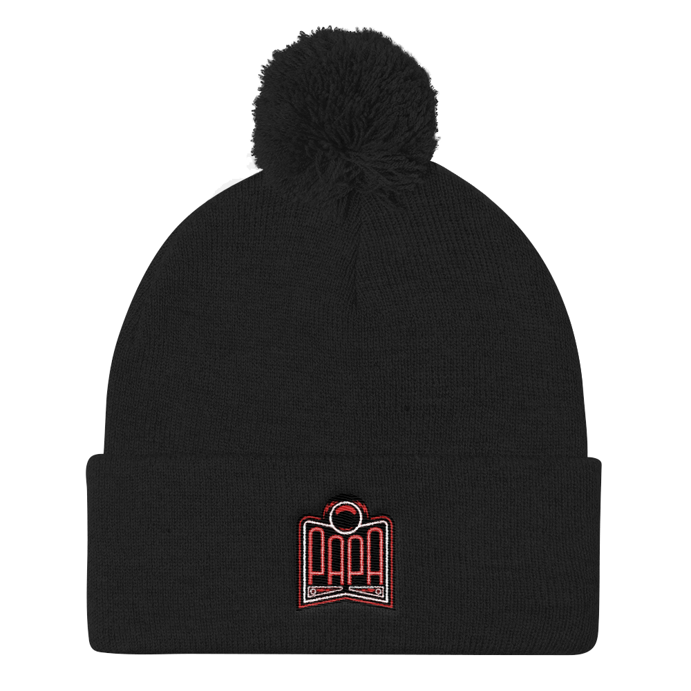 PAPA Red Logo Pom Pom Knit Cap