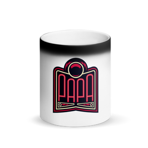 PAPA Red Logo Matte Black Magic Mug