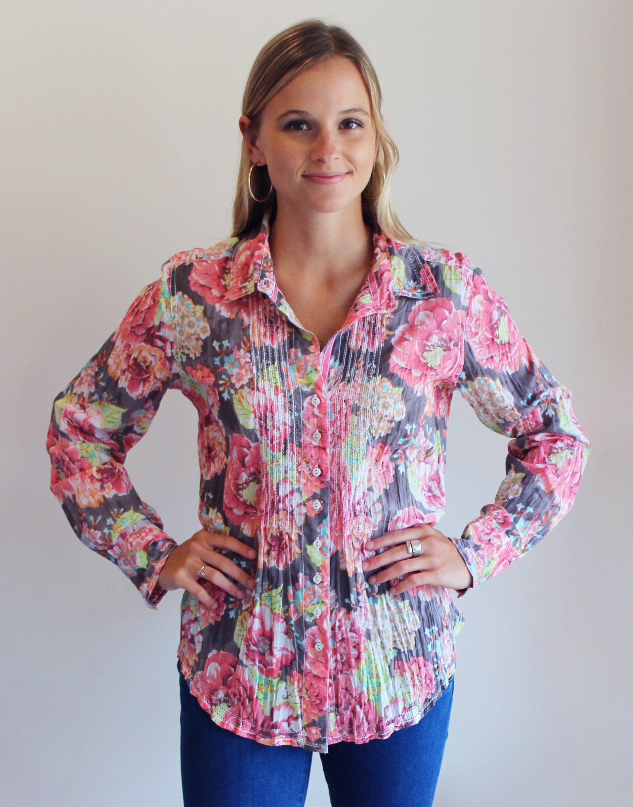 Aruba Floral Button Down Tunic