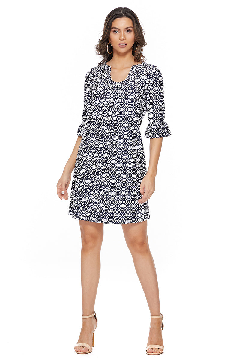 Ruffle Sleeve Shift Dress in Navy Graphics