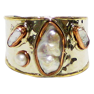 White Metal Cuff Copper Mother of Pearl