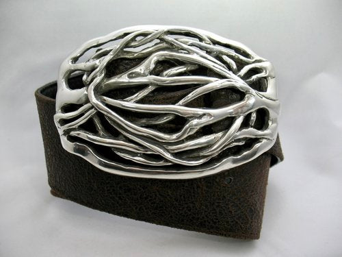 Twig Buckle on Black 2 1/4 Inch Pebble Strap