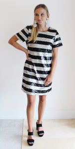 Clare Stripe Shift Dress - Sequin
