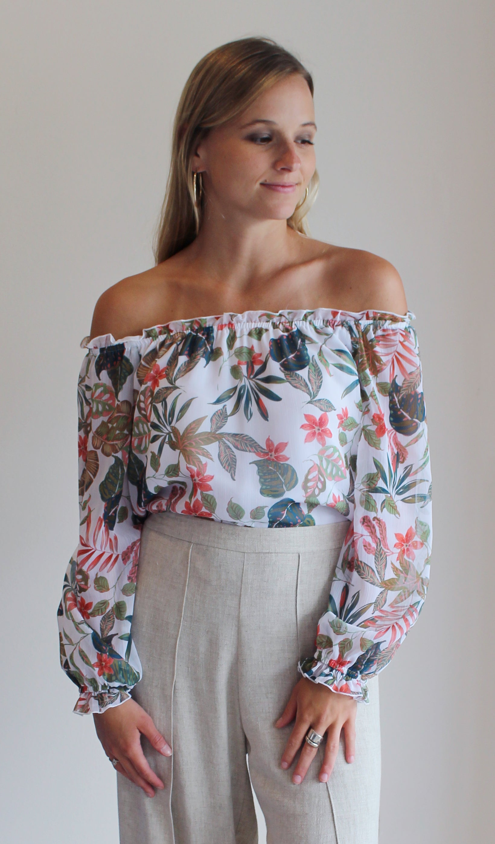 Denise Off Shoulder Peasant Top - White Floral