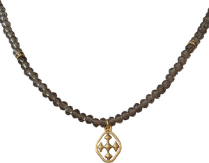 Faceted Grey Glass Beaded Necklace - Gold Necklace For Women online