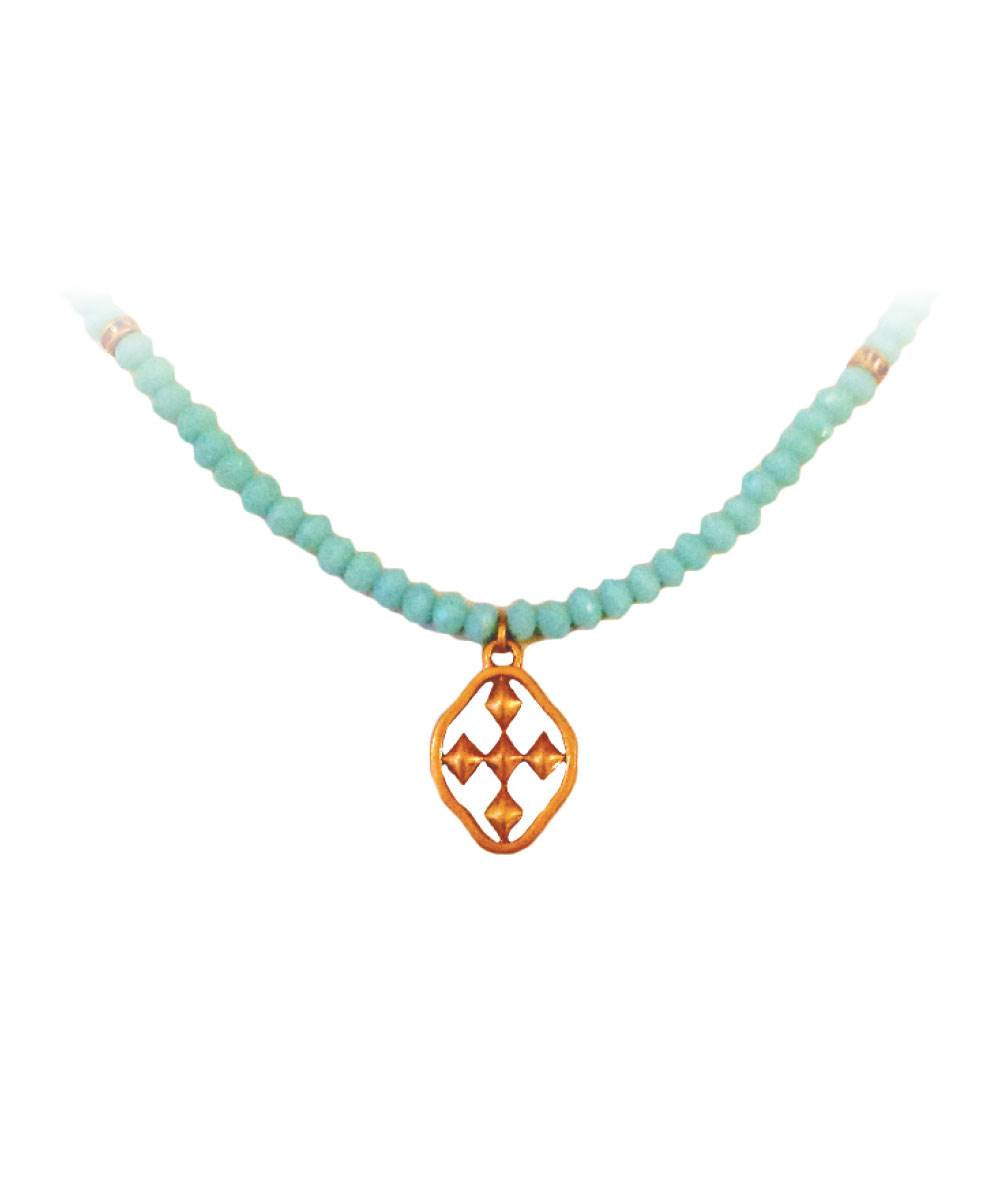 Women's Glass Beaded Necklace - Ladies Fashion Gold Necklace Online