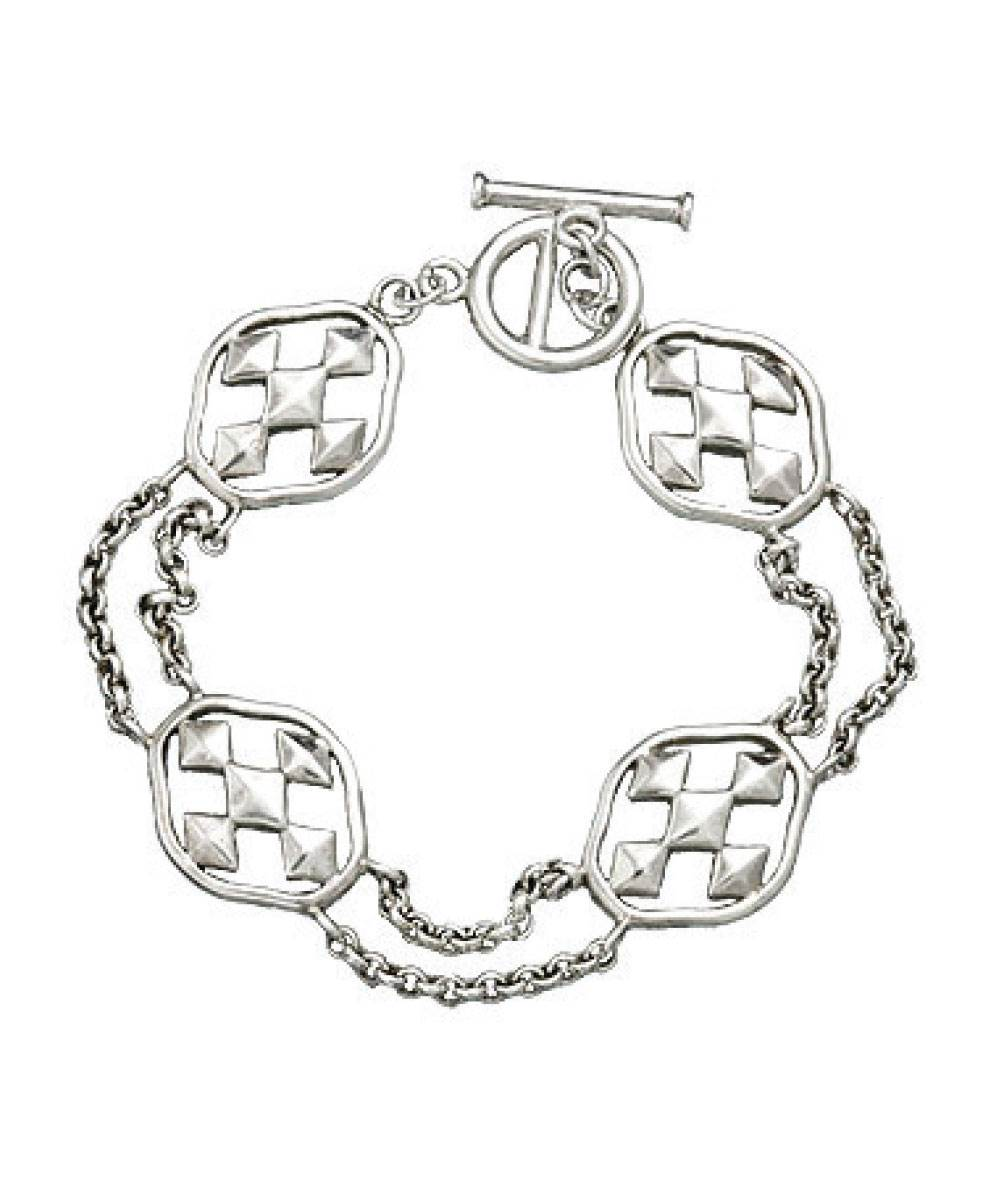 Rhodium Plated Linked Bracelet