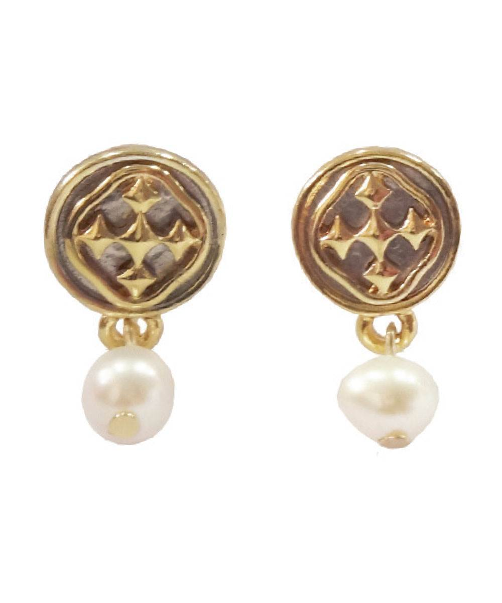 "1/2"" Linked Medallion Post Earring with Pearl Dangle - Women Jewelry"