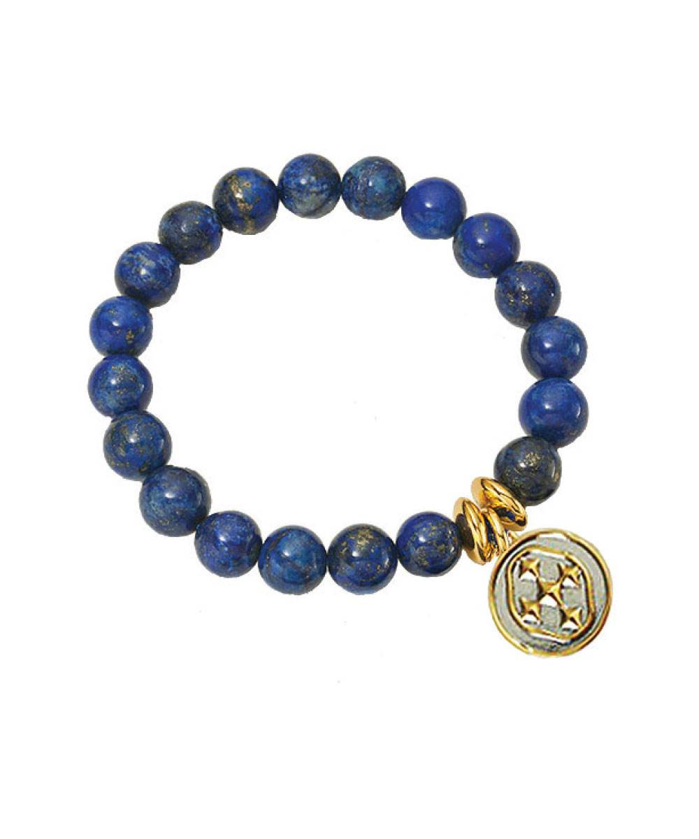 Blue Lapis Stretch Bracelet with Shield Medallion