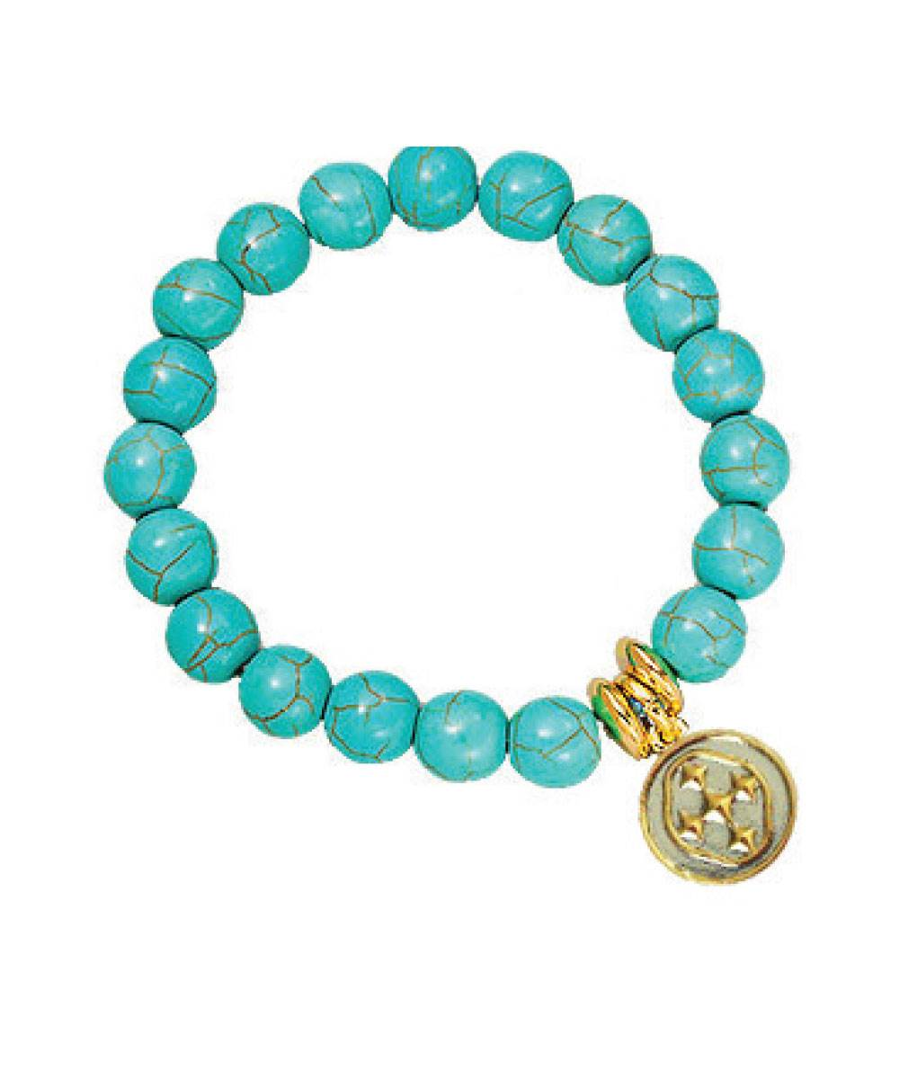 Turquoise Stretch Bracelet with Shield Medallion