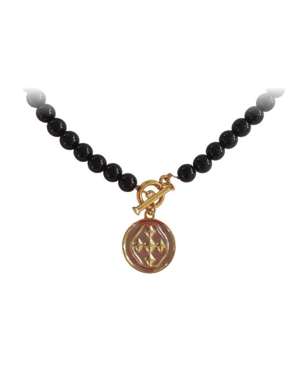 "18"" Black Onyx Necklace with Shield Medallion"