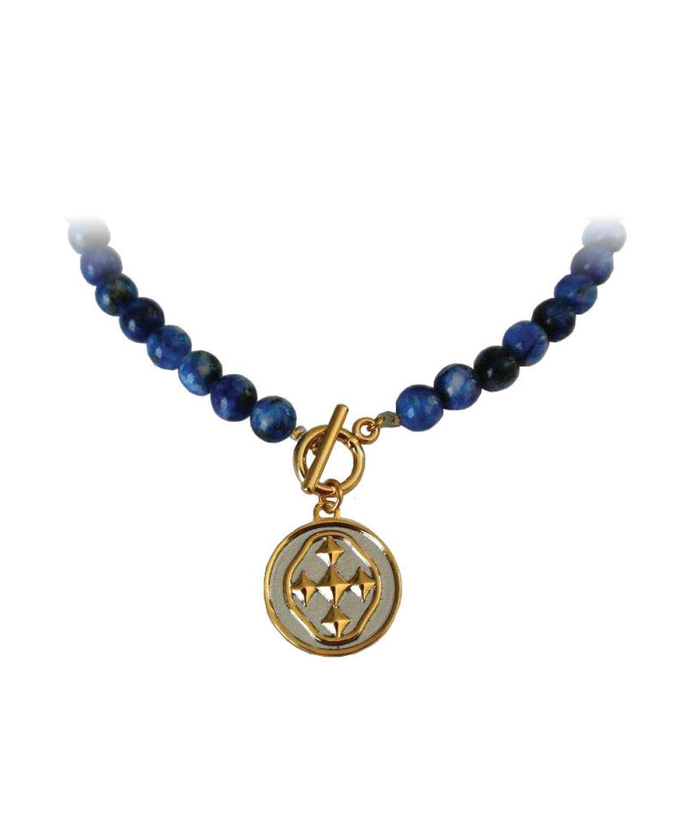 "18"" Blue Lapis Necklace with Shield Medallion"