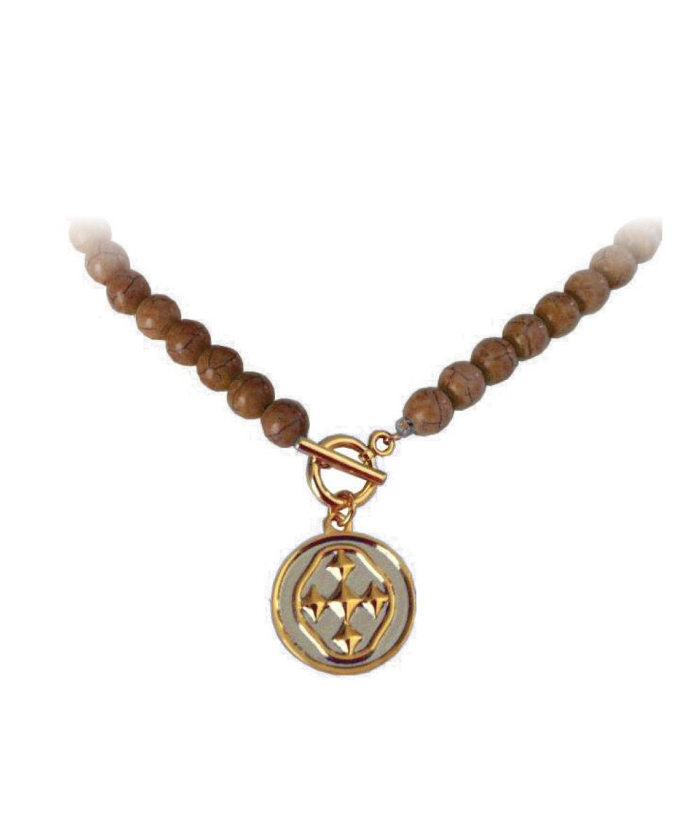 "18"" Tigerstone Necklace with Medallion Shield"