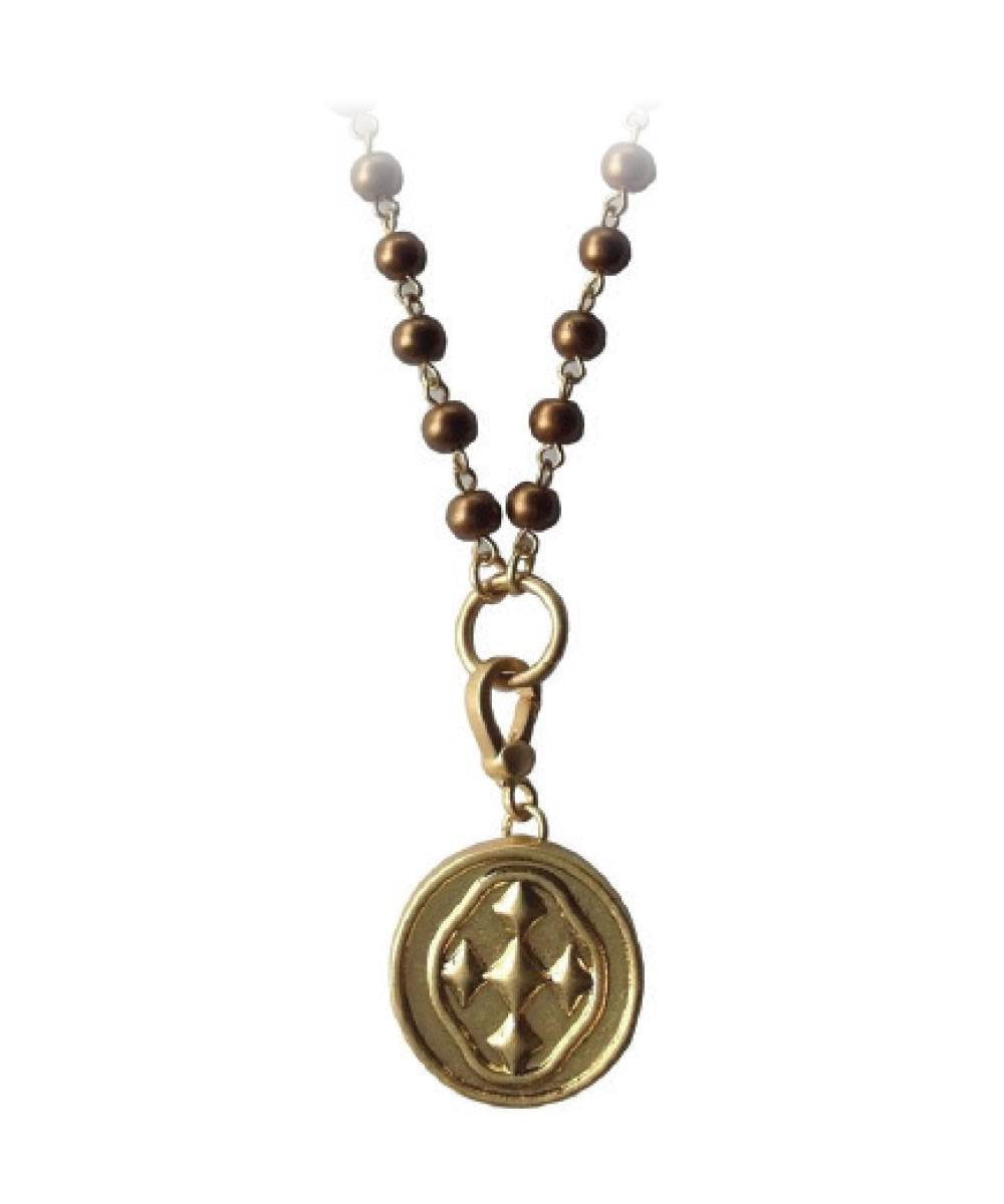 "38.5"" Bronze Brown ""Rosary Style"" Bead Necklace with Shield Medallion- matte gold"