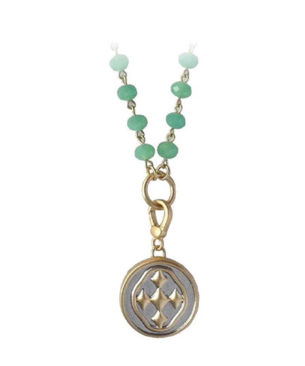 "38.5"" Citron ""Rosary Style"" Bead Necklace with shield medallion- matte gold"