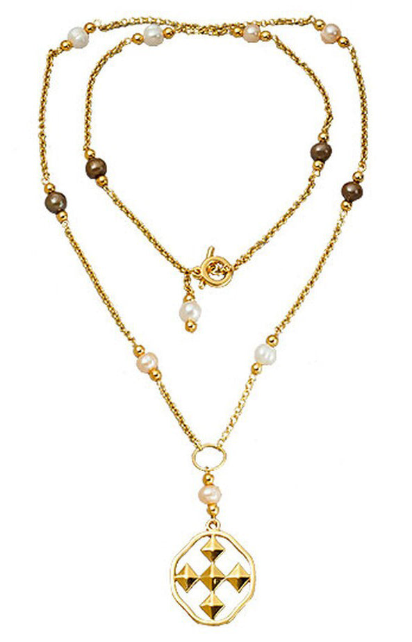 38.5 Inch Lariat with Fresh Water Pearls with Gold Plating
