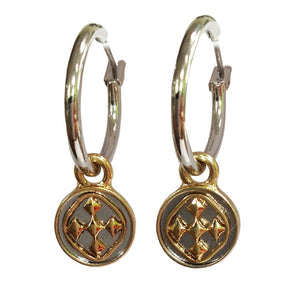 "1"" Linked Medallion Small Hoop Earrings - Women Gold Earrings"