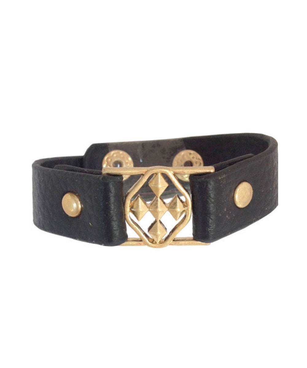 "Brown Leather Bracelet with 3/4"" Shield of Faith- matte gold"