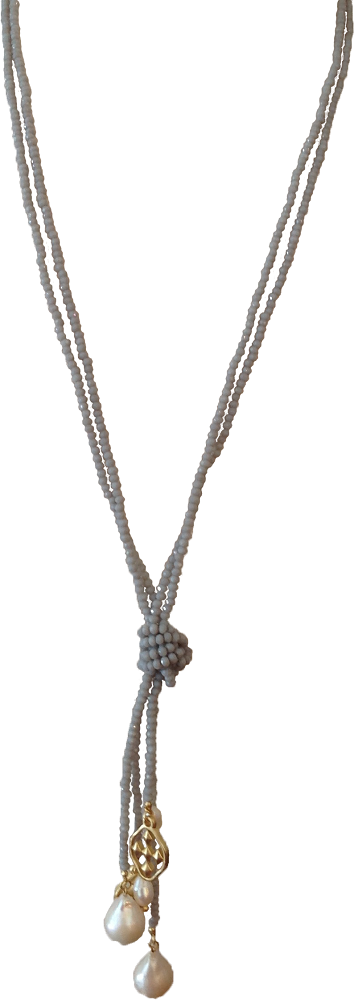 "36"" Faceted Gray and Pearl Wrap Necklace with matte gold shield"