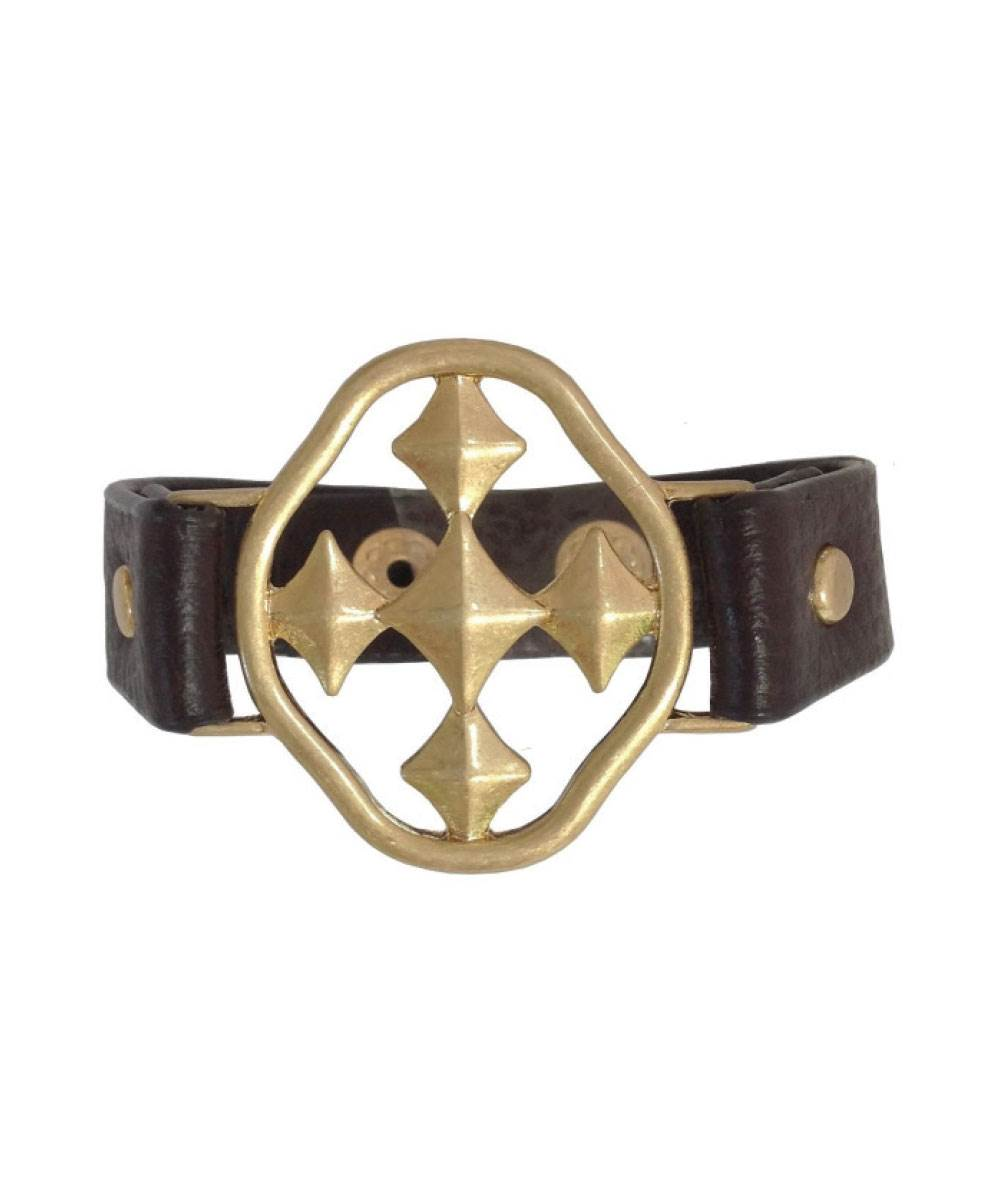 "Brown Leather Bracelet with 1.5"" Shield of Faith- matte gold"