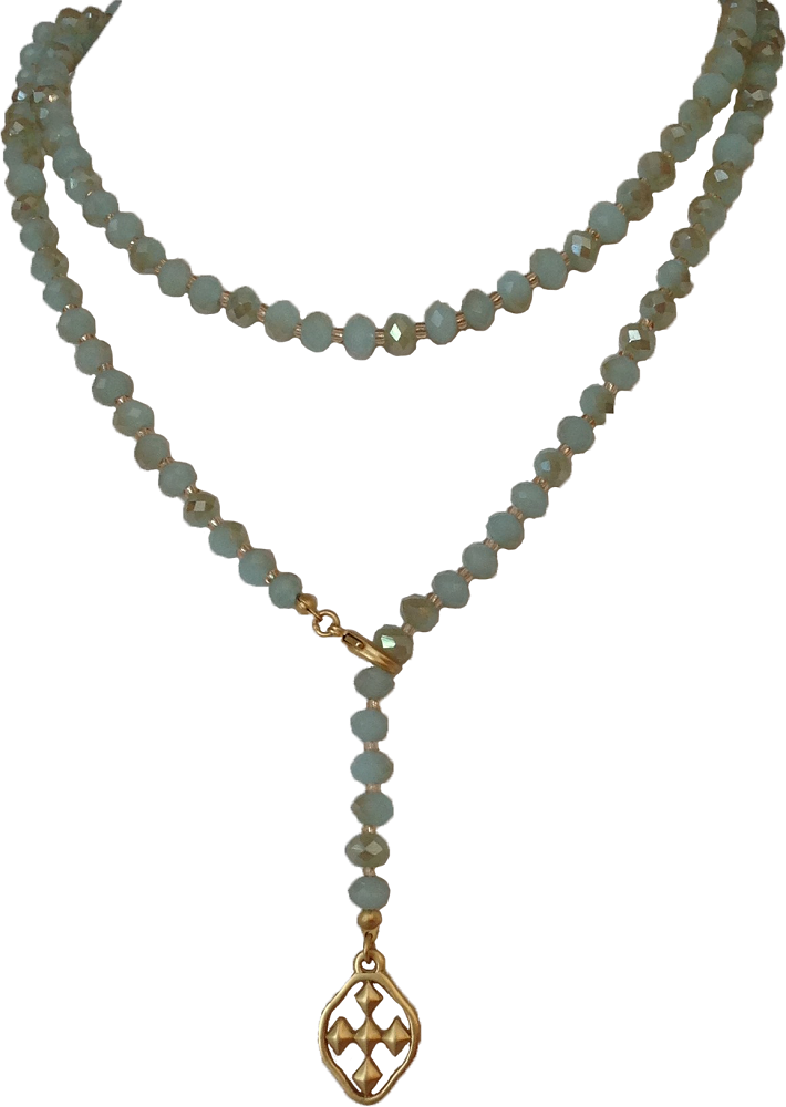 "33"" Iridescent Citron Lariat Necklace with matte gold shield"