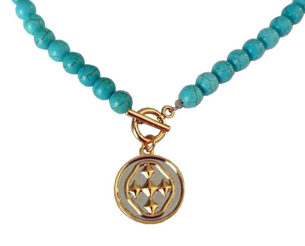 "18"" Turquoise Necklace with Medallion Shield"