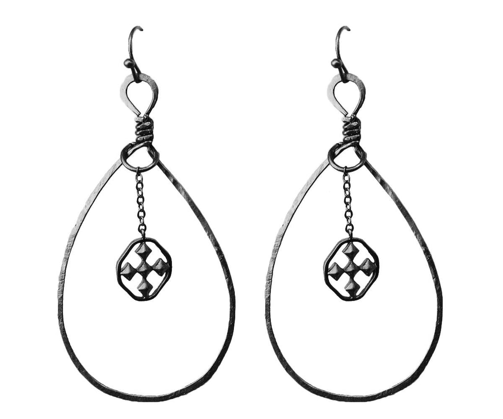 "2"" Oval Drop Earring - Oxidized Silver"