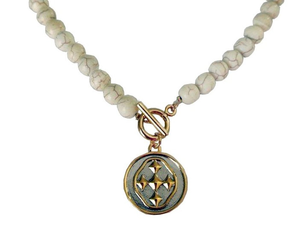 "18"" White Turquoise Necklace with Shield Medallion"