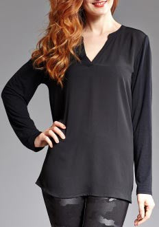 Long Sleeve Georgette V-Neck Tunic