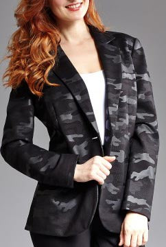 One Button Camo Jacket Notch Collar in Black