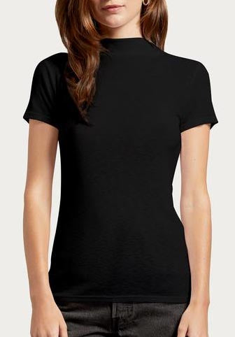 Short Sleeve Mock Neck Tee in Black