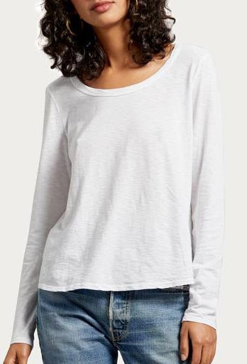 High Low Hemline Long Sleeve Tee with Scoop Neck
