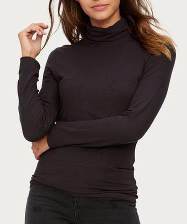 Ribbed Solid Knit Long Sleeve Fitted Turtleneck