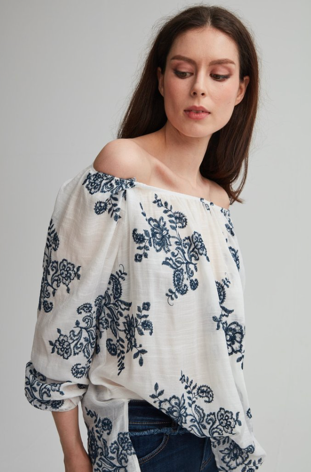 Embroidered Peasant Blouse - Denim